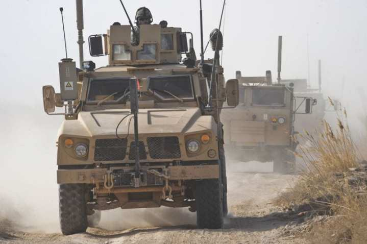A U.S. Army mine-resistant, ambush-protected all-terrain vehicle (M-ATV) leads a convoy on a resupply mission during Operation Helmand Spider in Badula Qulp, Helmand province, Afghanistan, Feb. 15, 2010. The M-ATV is expected to become the second most-produced light wheeled tactical vehicle worldwide through 2019. U.S. Air Force photo by Tech. Sgt. Efren Lopez