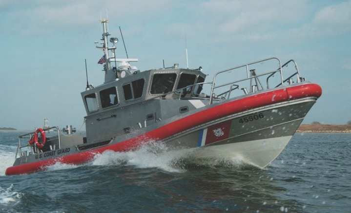 Crewmembers of Coast Guard Station Port Aransas, Texas, conduct training on the station's new 45-foot response boat-medium Jan. 27, 2009. The RB-M, which will eventually replace the Coast Guard's aging fleet of 41-foot utility boats, is a self-righting, 45-foot aluminum boat with twin diesel engines and water jet propulsion. It includes multiple navigation displays, a wireless crew communication system, an infrared camera, shock mitigating seating, and air conditioning. The RB-M also provides additional safety for the crew. Unlike the 41-foot utility boat, the RB-M has the ability to self-right in the event of a capsize. This feature allows the RB-M to operate in rougher sea conditions. USCG photo by Petty Officer Patrick D. Kelley
