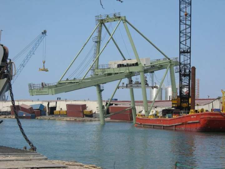 Damaged port in Haiti