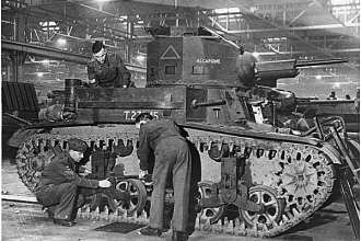 Arsenal of Democracy: A United States M2A4 light tank provided Great Britain under the Lend-Lease Act is assembled in England. FDR Presidential Library photo