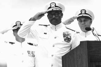Vice Adm. Samuel L. Gravely shown taking command of Third Fleet. U.S. Naval History and Heritage Command photo