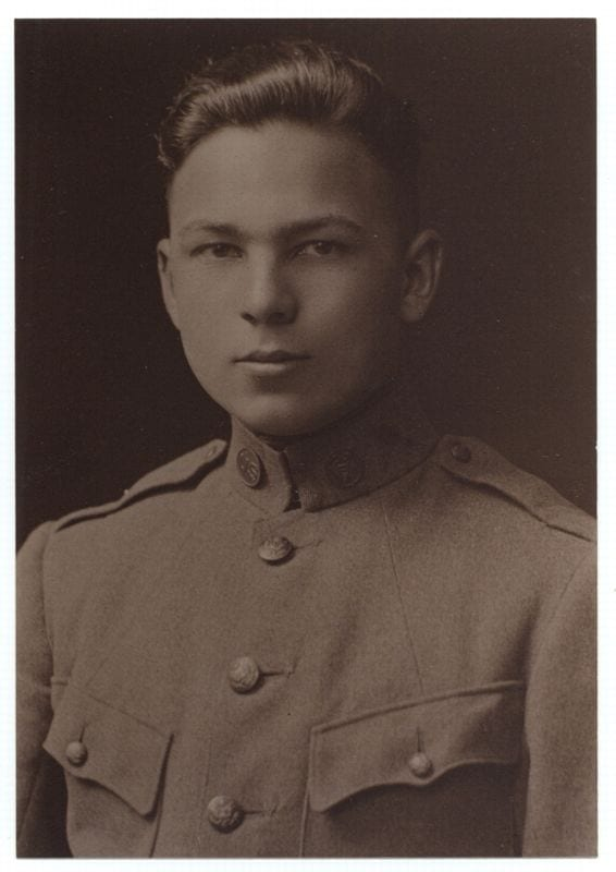 Frank Buckles, serial number 15577, shortly after he arrived in Winchester, England, on his way to France in 1917. Courtesy of Frank Buckles and the Library of Congress' Veteran's History Project