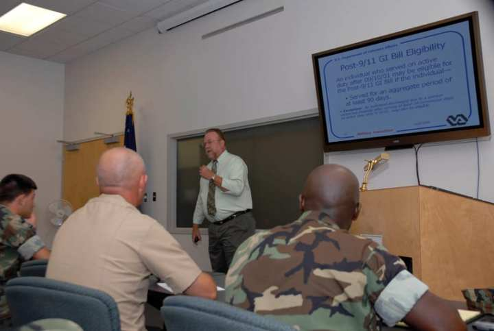 Robert Bailey, a veterans benefits coordinator for the Biloxi Veterans Hospital, briefs active duty sailors and retirees on the new Post 9/11 GI Bill at Naval Construction Battalion Center, Gulfport. The new GI Bill took effect Aug 1, 2009. Service members may be eligible for the Post 9/11 GI Bill if they served at least 90 consecutive days on active duty on or after Sept. 11, 2001, and were honorably discharged. U.S. Navy photo By Mass Communication Specialist 1st Class Terry Spain