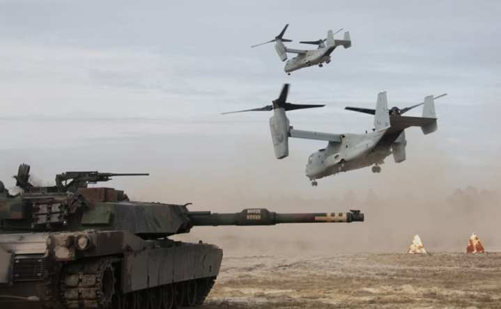 USMC Abrams tank and MV-22