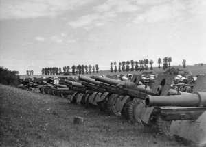 Captured Soviet artillery during Operation Barbarossa