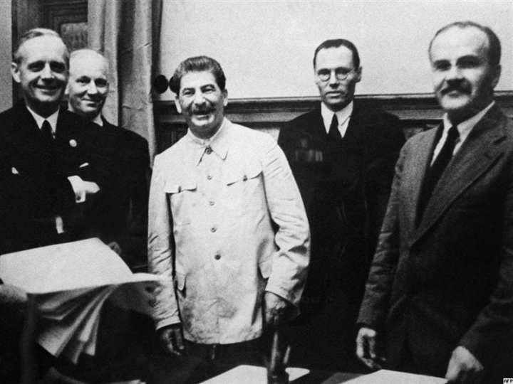 Josef Stalin at the signing of the Moltov-Ribbentrop Pact