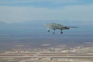 The X-47B's first flight at Edwards Air Force Base, Calif., Feb. 4, 2011. A future Unmanned Carrier-Launched Airborne Surveillance and Strike (UCLASS) system would be able to strike targets far beyond the range of current Navy aircraft. Northrop Grumman photo by Bobbi Zapka