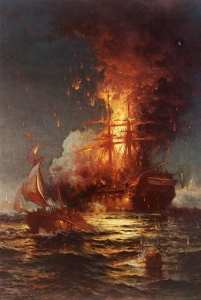 The Intrepid moves off after a party led by Lt. Stephen Decatur set USS Philadelphia afire.