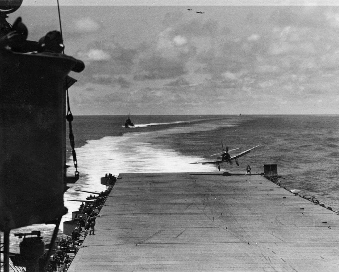 VB-8 SBD Traps Aboard Hornet