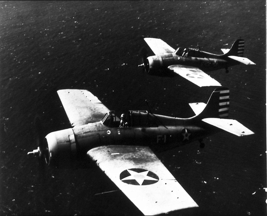 Lt. Cmdr. John S. Thach and Lt. Butch O'Hare of VF-3 in their Wildcats