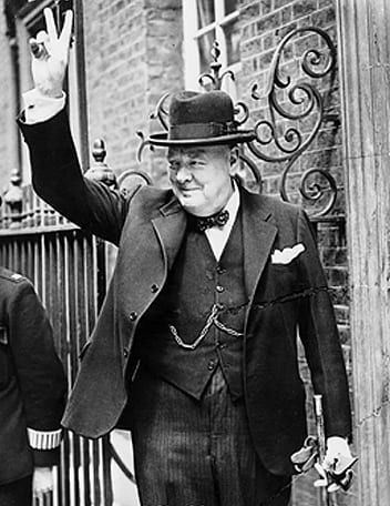 Churchill flashes the V sign