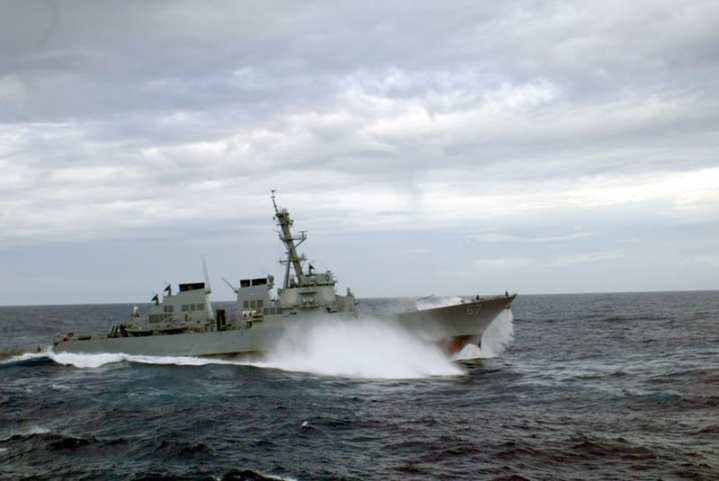 USS Cole (DDG-67) in heavy seas, after repair