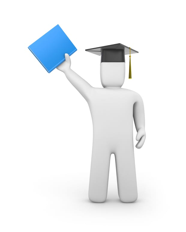 Person with graduation cap and book