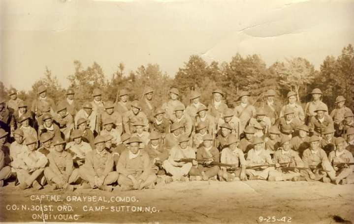 N Company 301st Ordnance with World War I helmets and Springfield M1903 bolt-action rifles in Sept. 1942