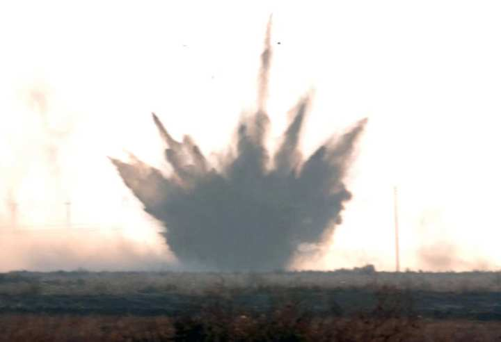 Artillery shell explodes during coalition attack