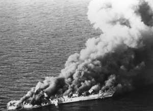 Iranian frigate Sahand burns during Operation Praying Mantis