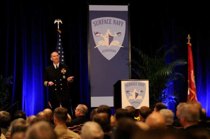 """Chief of Naval Operations Adm. Jonathan W. Greenert delivers remarks during the 24th Annual Surface Navy Association Symposium, which was held Jan. 10-12 in Crystal City, Va. This year's theme was """"Surface Navy: A Credible Force in Uncertain Times."""" U.S. Navy photo by Mass Communication Specialist 2nd Class Kyle P. Malloy"""