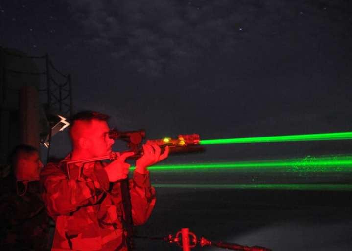 Laser dazzler firing