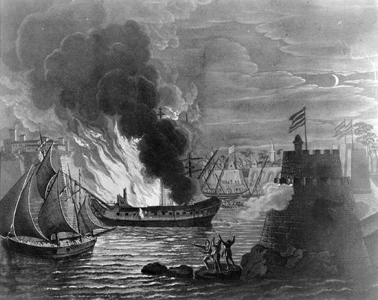 USS Philadelphia Ablaze in Tripoli Harbor