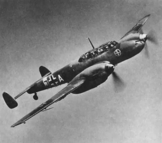 A Bf 110 of Zerstorergeschwader 1 in flight. Wikimedia Commons