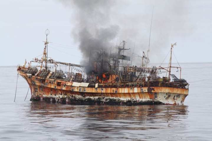 The Japanese fishing vessel Ryou-Un Maru shows significant signs of damage after the Coast Guard Cutter Anancapa fired explosive ammunition into it 180 miles west of the southeast Alaska coast April 5, 2012. The derelict fishing vessel sank in 6,000 feet of water. The Coast Guard worked closely with federal, state, and local agencies to assess the immediate dangers the vessel presented and determined that sinking the vessel at sea would be the best course of action to help minimize any navigation and environmental threats. U.S. Coast Guard photo