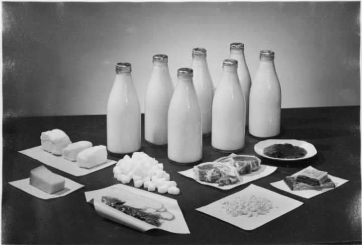 This photograph shows the amounts of milk, sugar, bacon, cheese, butter, and chocolate received by two people per week in Britain in 1943. © IWM (D 14667), Ministry of Information Photo Division photographer