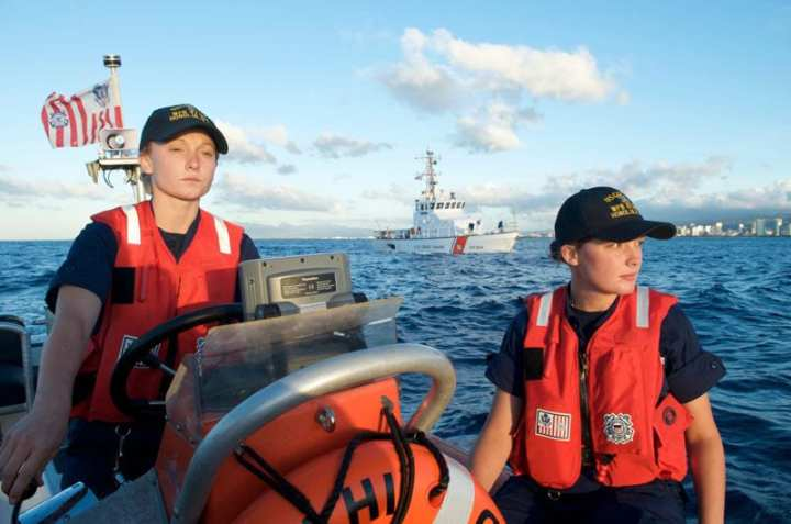 Boatswain's Mate 3rd Class Caroline Dortch and Seaman Tessie Lee, stationed aboard the CGC Ahi, practice smallboat drills near Diamond Head, Hawaii. The U.S. Coast Guard operates within a small budget given its many missions, but maintaining proficiency of its personnel is a key element of responsible fiscal management. U.S. Coast Guard photo by Petty Officer 1st Class C.C. Clayton