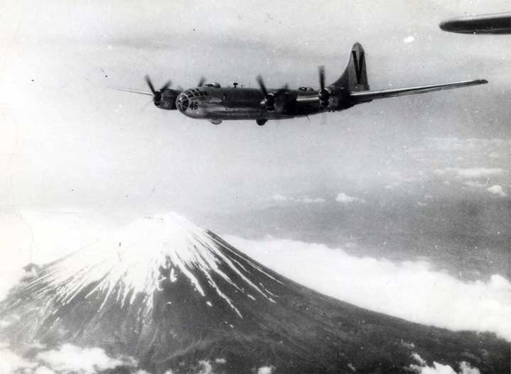 A 499th Bombardment Group B-29 over Mount Fuji in 1945. U.S. Air Force photo