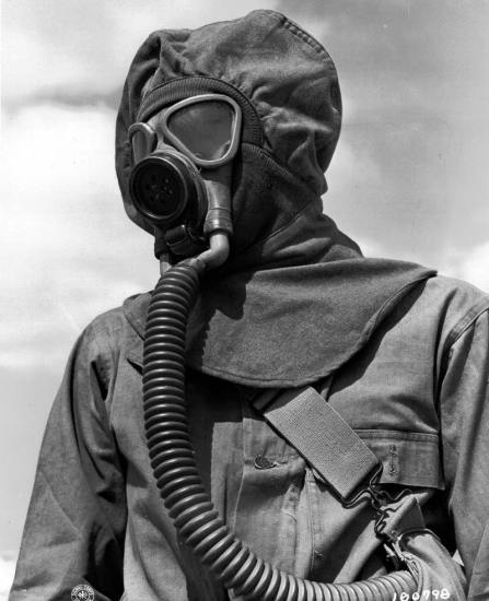 US Army Gas Mask And Protective Clothing Mustard Gas Experiments World War 2