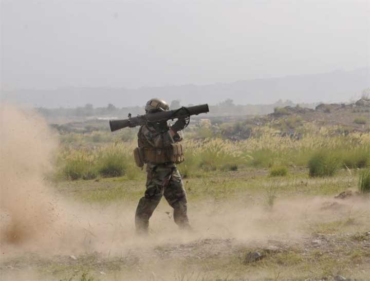 A U.S. Army Special Forces soldier fires a Carl Gustav recoilless rifle while training outside Firebase Salerno, Khost province, Afghanistan, Sept. 12, 2010. Aimpoint's FCS 12 sight is being combat-tested on Swedish Carl Gustav recoilless rifles. The sight incorporates a laser rangefinder and aim point adjustment, and can be used for many different types of ammunition. U.S. Army photo by Sgt. Justin P. Morelli