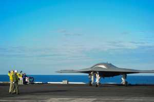 The X-47B Unmanned Combat Air System (UCAS) demonstrator taxies on the flight deck of the aircraft carrier USS Harry S Truman (CVN 75). Harry S. Truman is the first aircraft carrier to host test operations for an unmanned aircraft. Truman was under way supporting carrier qualifications. U.S. Navy photo courtesy of Northrop Grumman Corp. by Alan Radecki