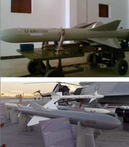"Figure 11: The YJ-83K is the air launched version of the YJ-83, as denoted by the ""K"" at the end of the designator. The missile in the photo is a training version without the side cable runs. The export variant is the C802AK as shown next to a Pakistani JF-17 fighter-bomber at the Dubai Air Show in 2011. Photo courtesy of Christopher P. Carlson"