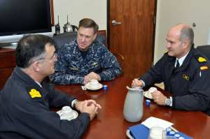 Adm. Mark Ferguson, vice chief of naval operations (center), meets with Spanish Rear Adm. Juan Rodriguez-Garat, chief of high readiness naval headquarters and naval action, (left), and Spanish Rear Adm. Juan Ruiz-Casas, commander-in-chief Rota Naval Base, (right), on Naval Station Rota, Nov. 21, 2011. Ferguson was in Rota to examine plans and requirements to homeport four U.S. Navy Aegis-capable destroyers here by 2015. U.S. Navy photo by Chief Mass Communication Specialist Mikel Bookwalter