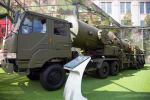 "A Chinese DF-21A transporter erector vehicle at the ""Our troops towards the sky"" exhibition at the Beijing Military Museum. Photo by Max Smith via Wikimedia."