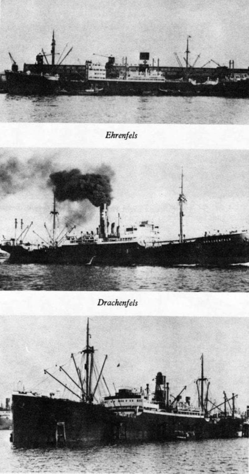 The three German merchantmen who took refuge in Mormugao, Goa, after the outbreak of World War II. The Ehrenfels was the target of the raid. Photo courtesy of Arnhemjim