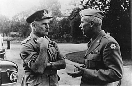 Field Marshal Sir Archibald Wavell (left) and Lt. Gen. Brehon Somervell. During World War II, Somervell was the commander of the Army Service Forces and as such responsible for logistics for all the military theaters. Library of Congress photo