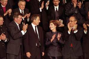 British Prime Minister Tony Blair (center, left) and Mrs. Laura Bush attend a joint session of Congress in which President Bush praised the efforts of New York Mayor Rudolph Giuliani (far right) and named Pennsylvania Governor Tom Ridge (far left) to a newly created cabinet-level position in which he will oversee the homeland defense initiatives, Sept. 20, 2001. Tom Ridge became the first Department of Homeland Security secretary. White House photo