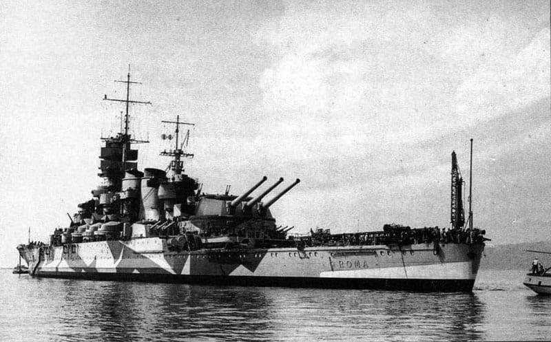 The Italian battleship Roma at anchor. The Roma was sunk on Sept. 9, 1943. Italian Navy photo