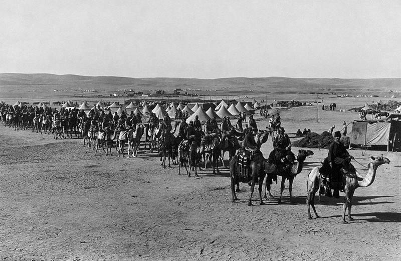 Ottoman Camel Corps at Beersheba during the First Suez Offensive of World War I, ca. 1915. Library of Congress photo