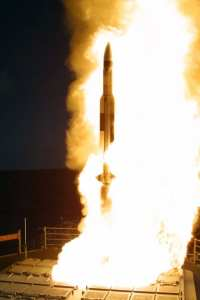 The Missile Defense Agency and the U.S. Navy conducted a successful flight test in the continuing development of the Aegis Ballistic Missile Defense element of the Ballistic Missile Defense System, Nov. 21, 2002. Missile Defense Agency photo