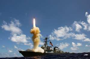 The guided-missile destroyer USS Fitzgerald (DDG 62) launches a Standard Missile-3 (SM-3) as apart of a joint ballistic missile defense exercise, Oct. 25, 2012. U.S. Navy photo