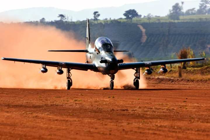 An A-29 Super Tucano lands on an austere field. The Sierra Nevada/Embraer team won the $427 million Light Air Support contract to supply the Afghan Air Force with 20 Super Tucano aircraft. Sierra Nevada Corp. photo