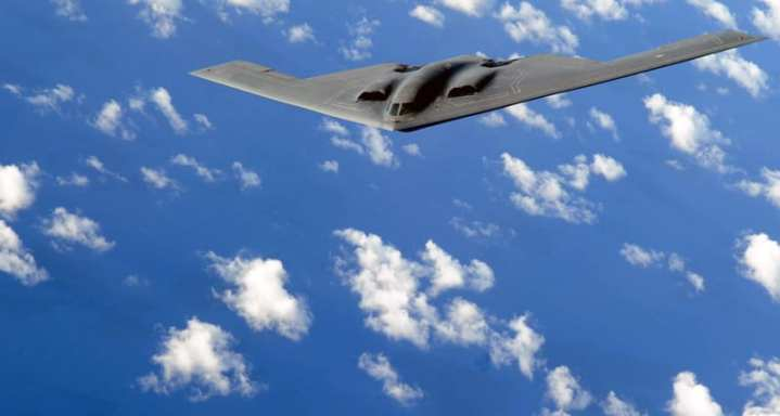 A B-2 Spirit flies a training mission over the Pacific Ocean. Two B-2s conducted a long-distance deterrence flight to South Korea on March 28, 2013. U.S. Air Force photo by Senior Airman Christopher Bush