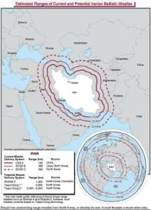 Estimated ranges of current and potential Iranian ballistic missiles. DoD image
