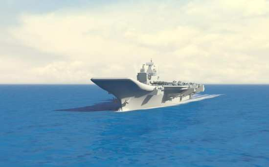 Graphic of what the completed IAC-1 is to look like. Indian Navy via Shiv Aroor