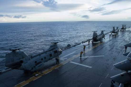 CH-46s aboard America