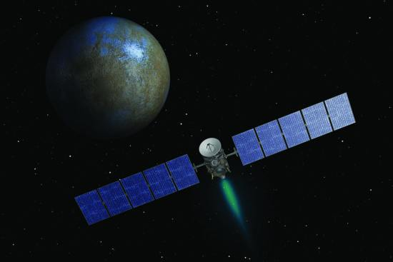 An artist's concept of NASA's Dawn spacecraft approaching the dwarf planet Ceres ahead of an orbital arrival on March 6, 2015. The plume of blue-green exhaust issues from Dawn's solar electric engine. NASA/JPL-Cal tech image