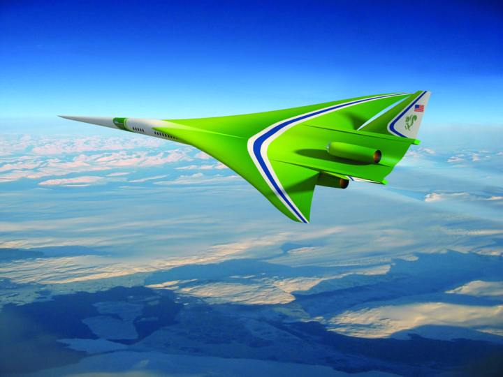 An updated future aircraft design concept from NASA research partner Lockheed Martin. It is a good example of how simulations and wind tunnel tests, conducted over time, generate data that tell researchers how to improve a design. The goals for a future supersonic aircraft are to produce a much lower-level sonic boom and to reduce emissions. The ultimate goal is to achieve a low enough boom that a current ruling prohibiting supersonic flight over land might be lifted. NASA/Lockheed Martin