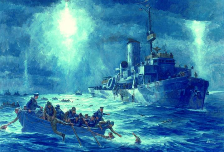 Painting of the rescue of the U.S. Army Transport Dorchester survivors by the crew of the CGC Escanaba on Feb. 3, 1943, in the North Atlantic Ocean. Dorchester was torpedoed and sank in the frigid waters. Crewmembers from Escanaba and the CGC Comanche, both on convoy escort duty, introduced a new retriever rescue technique: Coast Guardsmen, in insulated swim gear, swam to survivors and tied a line to them, enabling them to be hauled aboard the cutters. This method paved the way for what are today's techniques for Coast Guard rescue swimmers. Courtesy U.S. Coast Guard Historian's Office