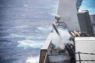 A chaff round is fired from a decoy launching system aboard the amphibious transport dock ship USS Green Bay (LPD 20). U.S. Navy photo by Mass Communication Specialist 1st Class Chris Williamson